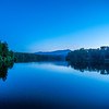 North Carolina Grandfather Mountain Julian Price Memorial Park Lake Blue Hour with moon