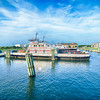 Hatteras, NC, USA - August 8, 2014 :  ferry transport boat at cape hatteras