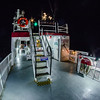on ferry boat ship at night time