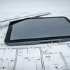 tablet and architectural construction design document tools background