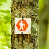 orange hiking trail sign