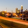 early morning sunrise over charlotte city skyline downtown