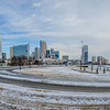 charlotte north carolina skyline in winter