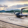 fishing tackle on a wooden float with mountain background in nc
