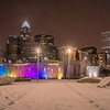 charlotte queen city skyline near romare bearden park in winter snow