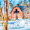 snow covered landscape at billy graham free library