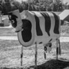 metal cow on farm