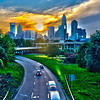 sun setting over charlotte north carolina a major metropolitan city