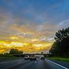 beautiful sunrise over road
