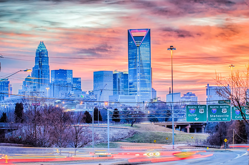 charlotte the queen city skyline at sunrise