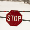 stop sign after a freshly fallen snow.