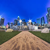 charlotte skyline at romare bearden park and bbt knights baseball stadium at night