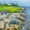 rocky banks on Ocracoke Island of North Carolina's Outer Banks