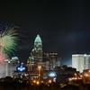 4th of july firework over charlotte skyline