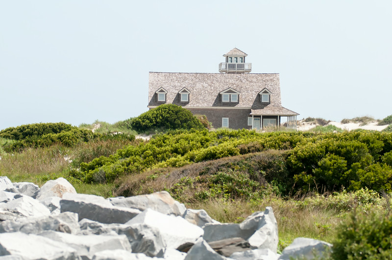 The restored Oregon Inlet Life Saving Station stands on the North Carolina Outer Banks coast at Pea Island National Wildlife Refuge