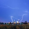 lightning thunder bolts over charlotte skyline