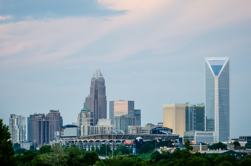 charlotte north carolina skyline at evening