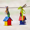 little colorful bird houses
