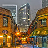 charlotte, nc  - December 8, 2013: Night view of a narrow alley street with restaurants in charlotte, nc
