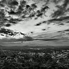 roanoke virginia city in a valley at sunset black and white