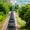 slow moving Coal wagons on railway tracks