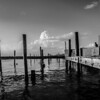 classic black and white pier scene