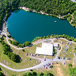 aerial over blue stone quarry in north carolina