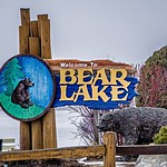 bear lake michigan welcome park sign in march 2017
