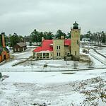 mackinaw city Light House Complex with snow