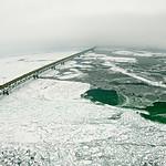 scenery around mackinaw bridge in winter