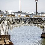 frozen pier on lake erie in cleveland ohio