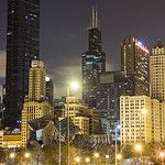 chicago illinois city skyline downtown at night