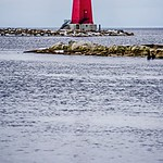 Manistique East Breakwater Lighthouse on lake michigan