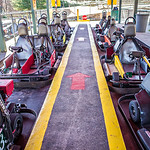 parked racing karts waiting for riders