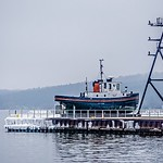 tug boat in the marina in traverse city michigan