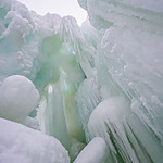 ice climbing glacier mountains with icicles