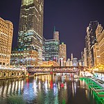 chicago illinois city skyline at night time