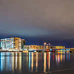 green bay wisconsin city skyline at night