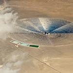 aerial view of solar energy power plant in desert