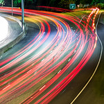 cars traffic commute on highway at night