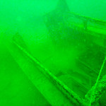 underwater boat wreck in local lake