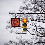 red street light and stop and no turn sign