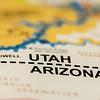 utah arizona border line on a map