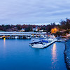 boat marina on lake wylie in north carolina at dusk
