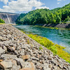 views of man made dam at lake fontana great smoky mountains nc