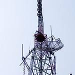 Telephone broadcast radio pole isolated on white background