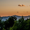 early morning sunrise over blue ridge mountains