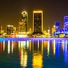 evening on St John's River and Jacksonville Florida skyline