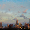 cotton candy sky over charlotte north carolina downtown skyline