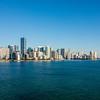 Miami Florida city skyline morning with blue sky